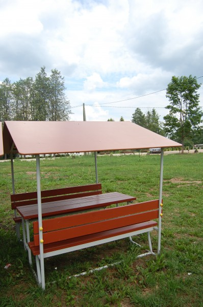Banc et table camping avec toit bencotex quipements - Table de camping avec banc ...